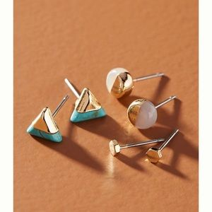 Anthropologie futurist earring set in turquoise